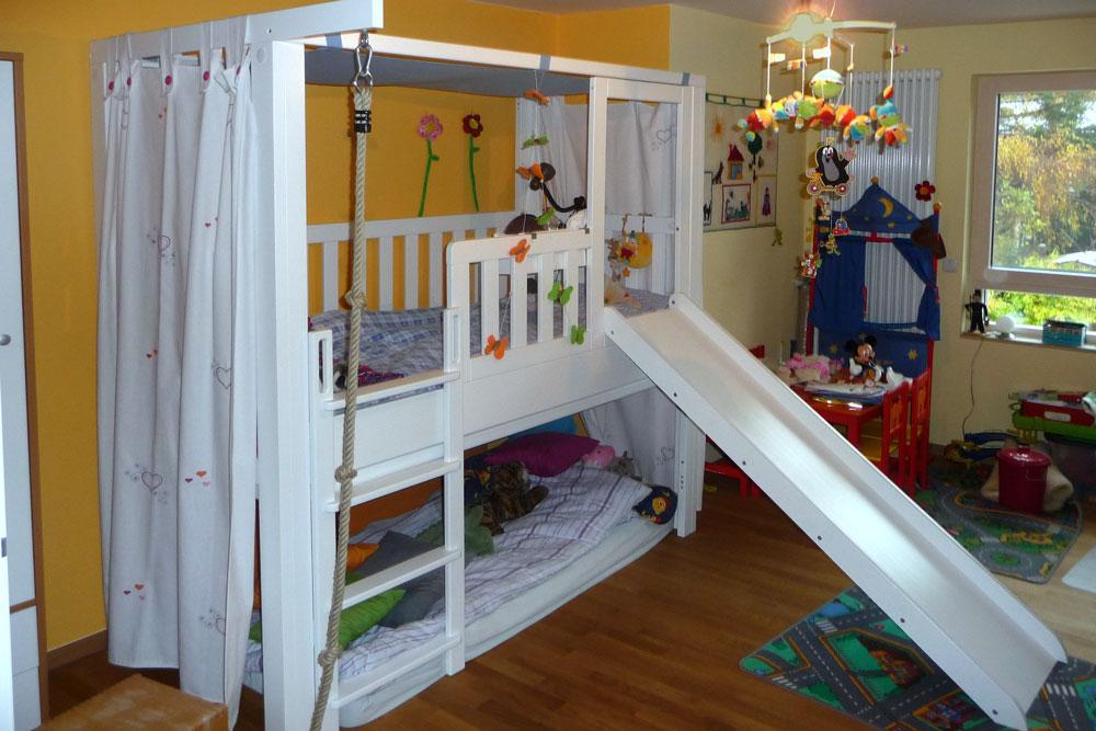 Listo flex als abenteuerbett mit rutsche weiss lackiert kinderm bel m nchen salto spielbett - Rutsche kinderzimmer ...