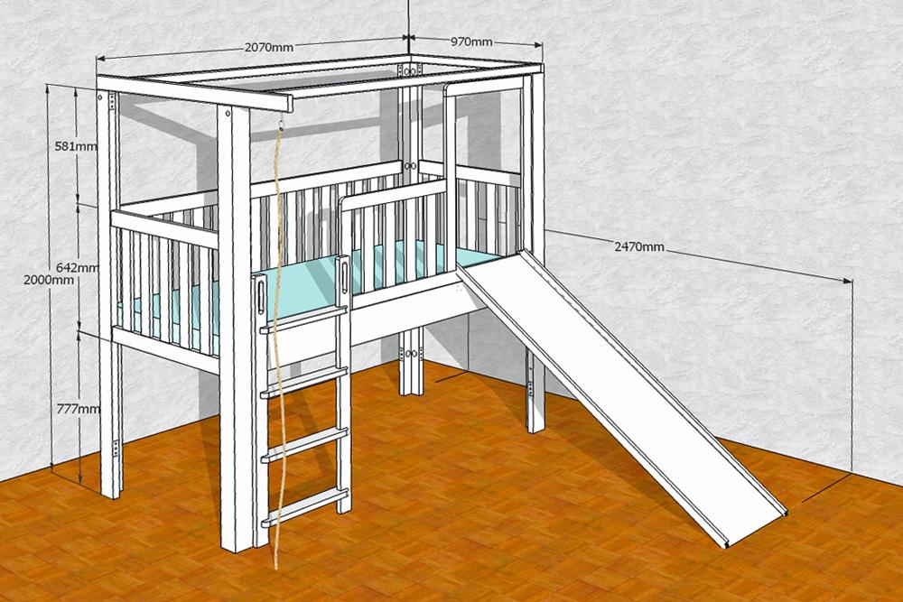 listo flex als abenteuerbett mit rutsche weiss lackiert. Black Bedroom Furniture Sets. Home Design Ideas