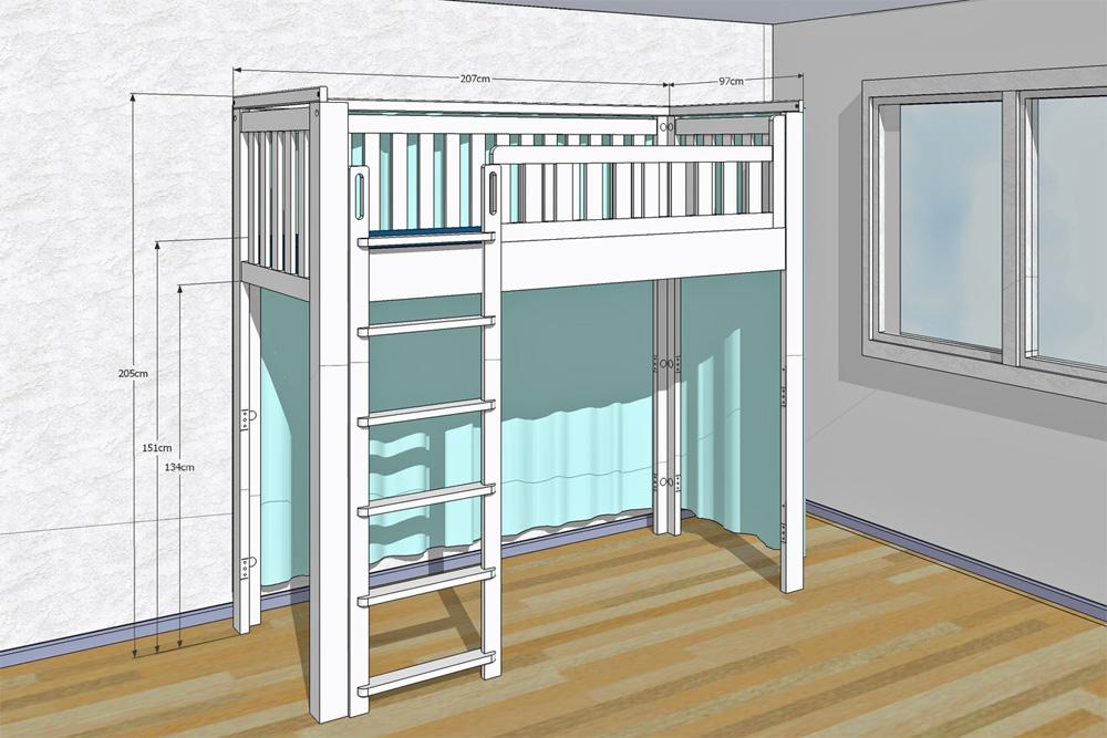 mitwachsendes bett listo flex weiss hochbett. Black Bedroom Furniture Sets. Home Design Ideas